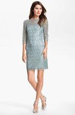 NWOT  icy blue  Kay Unger Metallic Lace Sheath Dress size 2