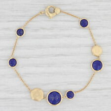 """Marco Bicego Blue Lapis Lazuli Bracelet 18k Yellow Gold 7"""" Cable Chain Tags"""