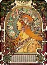 Art Nouveau Postcard:  Repro - Mucha 's Zodiac, Astrology - Woman w Red Hair