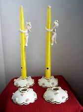 VINTAGE 1958 GILT HOLT HOWARD ANGEL CANDLE CLIMBERS AND CANDLE HOLDERS SET