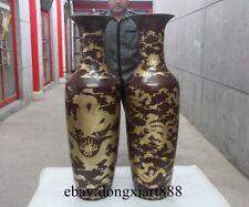"54"" Chinese Royal 100% Purple Bronze Lucky Dragon Phoenix Vase Pot Jar Jug Pair"