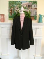 Sag Harbor Women's 10 Wool Blend Blazer charcoal one button pre-owned lined