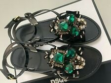 DSQUARED2 38 7.5 Jeweled Black CLEO Patent Leather Ankle Strap Flat Sandals $890