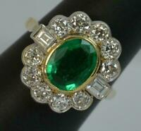 Art Deco Vintage 14k Yellow Gold Plated 1.500 Ct Emerald & Diamond Cluster Ring