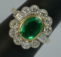 Art Deco Vintage 14k Yellow Gold Plated 1.50 Ct Emerald & Diamond Cluster Ring