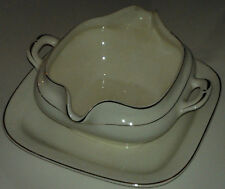 Antique Crooksville China Co Gravy Bowl w/Attached Saucer(#926)White w/Gold Trim