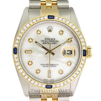 Rolex Mens Datejust 16013 Two-tone 36mm White MOP Diamond Dial  Bezel Watch