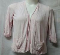 Chico's 1 Light Pink 3/4 Length Sleeve Open Front Cardigan Pockets