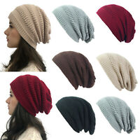 Women's Men Crochet Knit Slouchy Baggy Beanie Warm Oversize Winter Hat Ski Cap