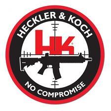"""HECKLER & KOCH FIREARMS NO COMPROMISE 4"""" DECAL STICKER HK PISTOL GUN RIFLE"""
