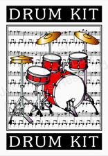 JCL Beautiful original drum kit art gift birthday card professional