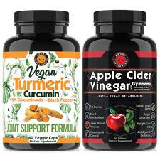 Turmeric Curcumin Vegan 95% Curcuminoids BioPerine + Apple Cider Weight Loss 2PK