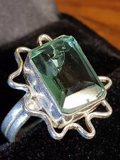 blue TOPAZ QUARTZ and  Healing Properties silver  ring 7 us