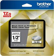 Brother P Touch Laminated Tape 1 Black Print On Premium Matte Clear Tze M51