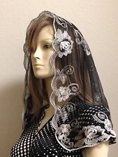 Silver Black Spanish style veils and mantilla church chapel scarf lace ROSE