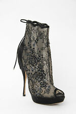 CHRISTIAN DIOR Fall 2010 Black Sheer Lace Satin Platform Peep Toe Heels 9/39
