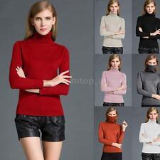 Women Turtleneck Long Sleeve Sweater Knit T-Shirt Knitwear Pullover Jumper Q1F4