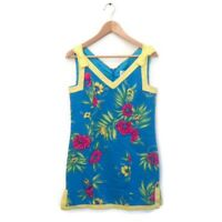 Lilly Pulitzer Dress S Blue Yellow Pink Floral Print Cotton Women's VTG Rare