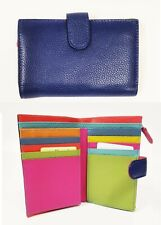 NEW VERA PELLE NAVY,ROYAL BLUE MULTI COLOR LEATHER ZIP BIFOLD+COIN WALLET-ITALY