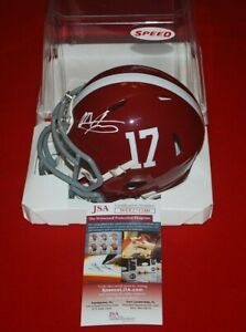 MAC JONES ALABAMA CRIMSON TIDE signed speed mini helmet JSA witnessed COA 3