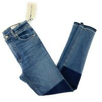 NEW Rag & Bone Womens Sz 27 Blue Colorblock Skinny Fray Hem High Rise Jeans