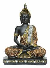 Sitting Buddha Idol Statue Showpiece Orange and Black For Home Decor US