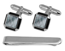 Sterling Silver Cufflinks Sq Mop With Onyx Edge Tie Clip Box Set
