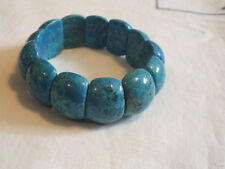 """Beautiful Stretch Bracelet Black Marbled Turquoise Beads 7/8"""" Wide NICE"""