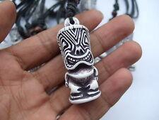 Wax Cord Yak Bone Resin Tiki Man Totem Charms Pendant Necklace 1pcs