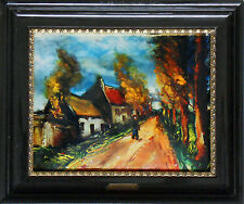 The road lined with red trees - Miniature on enameled copper (Vlaminck)