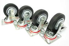 """4"""" (100mm) IN GOMMA CASTOR Girevole con Freno di ricino ruote Trolley (confezione da 4 rm010)"""