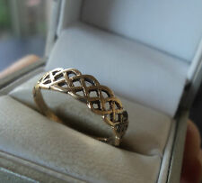 Rhiannon Evans of Tregaron 9ct Gold Celtic Ring h/m 1991 London  -  Size O