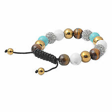 Authentic Macrame Bead Bracelet Healing Howlite, Tiger Eye Turquoise