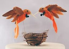 "Orange Hummingbird ""Groom & Groom"" Love Birds: Rustic Gay Wedding Cake Topper"