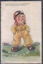 Bambino Aviatore di Cacciabombardiere WWII Propaganda PC circa 1930 ITALY