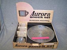 Vintage Anchor Hocking 4 SNACK PLATEs & 4 CUPs SET - AURORA  Rainbow Iridescent
