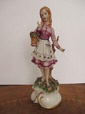 Statuina porcellana primavera fanciulla - statuina capodimonte  firmata Cortese
