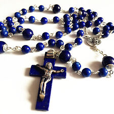 S925  Sterling Silver Lapis lazuli Beads & CROSS CATHOLIC Rosary NECKLACE BOX