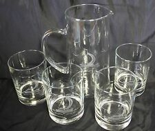 Etched Elegant Crystal Sailboats Pitcher and 4 Glasses