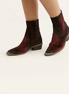 New Free People Distressed Velvet Western Barbary Boot Sz 41