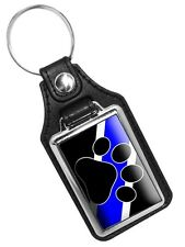 Thin Blue Line K9 Canine Paw Mason's Faux Leather Key Ring