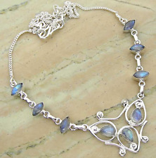 Moonstone Bib Necklace Bohemian Statement Silver Plated Chain Gift Jewelry