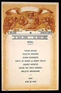 Menu Héléne - Christian 12 Juin 1948-12 Juin 1993