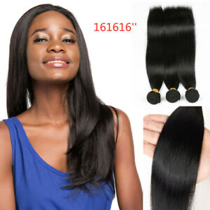 Straight human hair 16inches Natural color 3 bundles/150G Extensions Weave weft