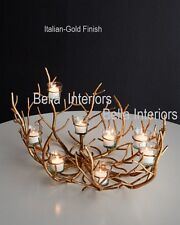 NEW HORCHOW Gold Natural Twig IRON Antler 8 Votive Candle Holder Centerpiece