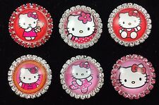 HELLO KITTY 27mm GLASS DOME FLATBACK CABOCHON RHINESTONE EMBELLISHMENTS 6 pcs C