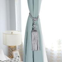 UK 2PCS Curtain Holdbacks Rope Tie Backs Tassel Tiebacks Crystal Ball Decor MALL