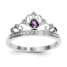 STERLING SILVER NATURAL GENUINE AMETHYST & DIAMOND CROWN RING - SIZE 8