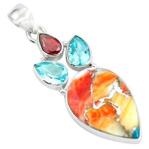 925 Silver 16.68cts Multi Color Spiny Oyster Arizona Turquoise Pendant P65344