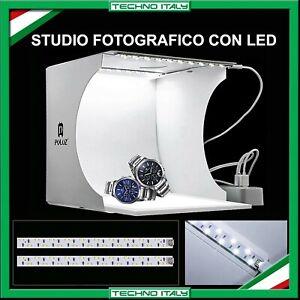 STUDIO SET FOTOGRAFICO PORTATILE PIEGHEVOLE LIGHT BOX CON ILLUMIN. LED 6 SFONDI